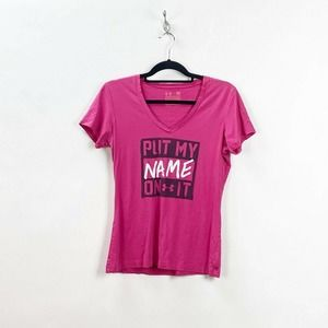 🍎Under Armour Pink Graphic V-neck Tee